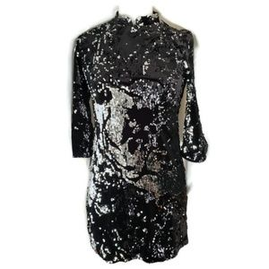 Zara Black Sequin Mini Dress L/S Trafaluc S